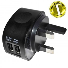 WIRETECH 2.1AMP ( 2100mAh ) DUAL USB MAINS CHARGER UK TRAVEL ADAPTER - BLACK