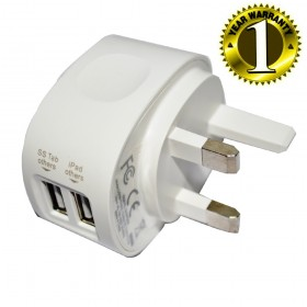 WIRETECH 2.1AMP ( 2100mAh ) DUAL USB MAINS CHARGER UK TRAVEL ADAPTER - WHITE